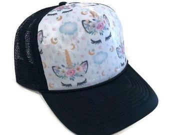fce8e1708647d Unicorn Moon And Stars Minky Front Trucker Hat - Kids Trucker Hat - Snap  Back Hat - Baby Trucker Hat - Adult Trucker Hat - Youth Hat