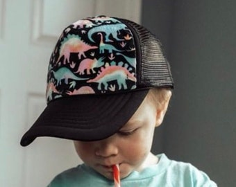 2e277548fea Watercolor Dinosaur Minky Front Trucker Hat - Kids Trucker Hat - Snap Back  Hat - Baby Trucker Hat - Adult Trucker Hat - Youth Hat