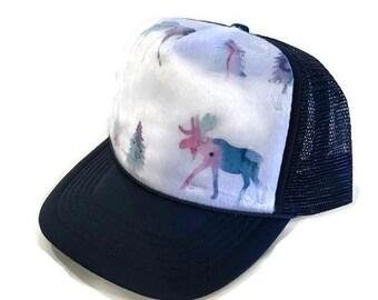 82b0446543f Watercolor Moose Minky Trucker Hat