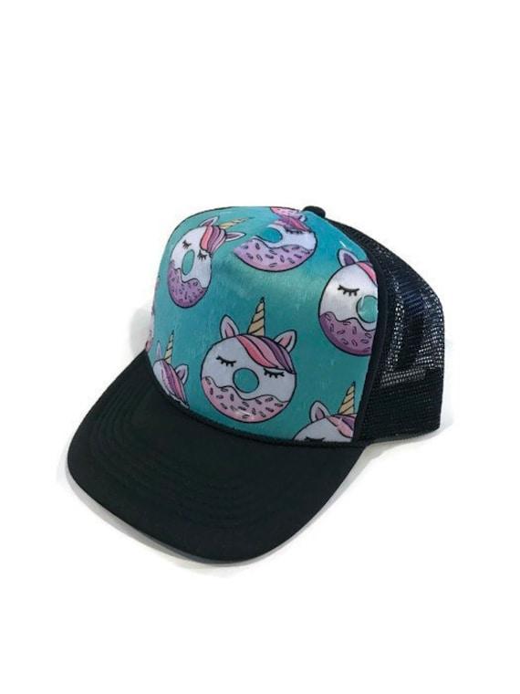 eee04eba0dd Unicorn Donut Trucker Hat Adult-Child-Kids-Baby Donuts Minky