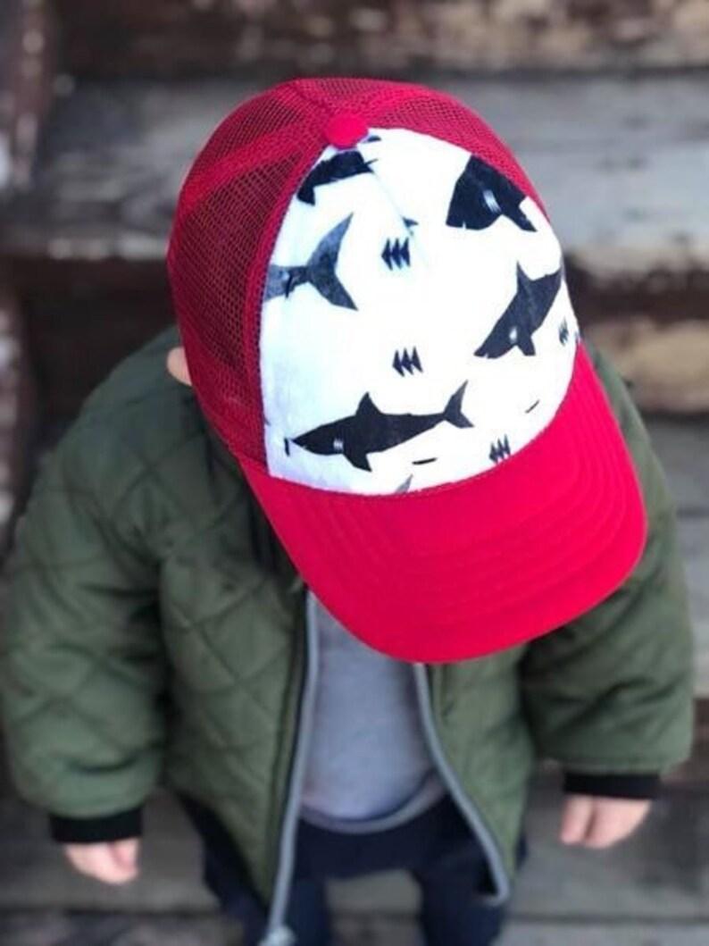 b3c92202 Shark Minky Front Trucker Hat Red Kids Trucker Hat Snap | Etsy