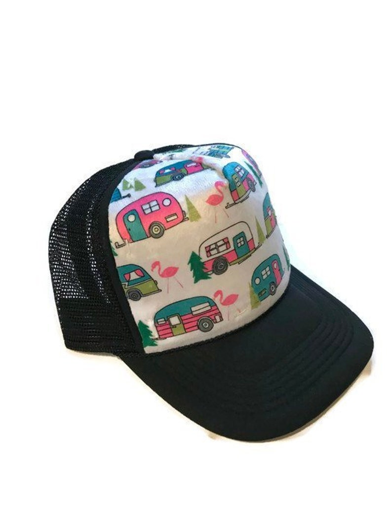 Happy Camper Minky Trucker Hat Adult-Child-Kids-Baby Black  f790a9d0297d