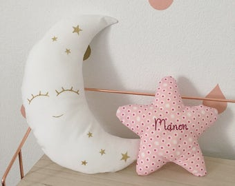 Personalized kids room - 2 cushions Moon and star - Rose and gold sparkly - Sweet cushion for baby