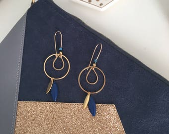 Earrings Bohemian chic - gold Sequins and Navy Blue