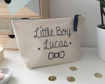 Customizable Little Boy Bellows Pouch - Small Business Storage - Toiletry Bag