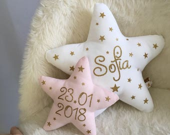 Nursery decor child, 2 pillows stuffed animals personalized glittering stars, name and date of birth, baby room cushion