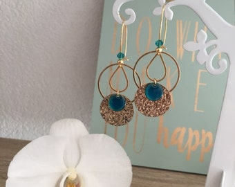 Trendy boho Chic earrings - gold and Turquoise - Acccessoire wedding
