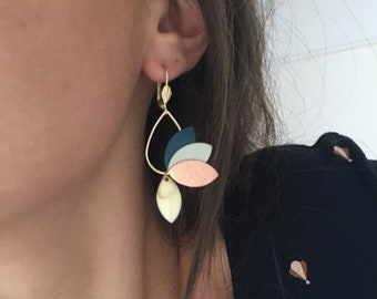 Jasmine boho chic earrings, minimalist jewelry, Floral Jewelry, Rose Gold Jewelry, Customizable Jewelry Colors