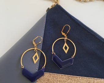 Chic bohemian earrings - gold and Blue Navy - Gold Filled 14 Carats