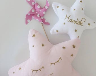Customizable Children's Room Decoration, 2 Star Doudou Cushions, sparkling golden pink, personalized birth gift, baby shower