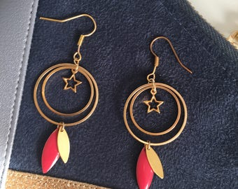 Stars - raspberry and gold Sequins earrings