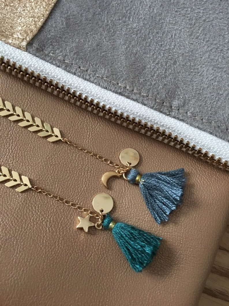 Gold Moon and star bracelet with tassels jewelry graphic jewelry hanmade gold Moon wedding accessory trendy boho chic
