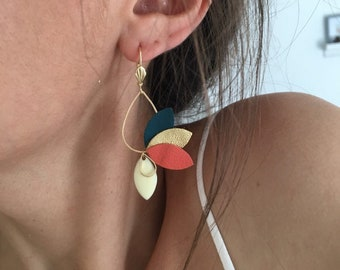 Jasmine boho chic earrings, minimalist jewelry, Floral jewelry, Golden jewelry green fir and coral