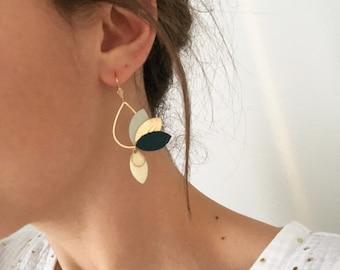 JASMINE boho chic earrings, minimalist jewelry, floral jewelry, Golden and green fir jewelry, customizable jewel colors