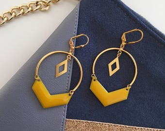 Bohemian chic earrings - gold and mustard yellow - 14 K Gold Filled