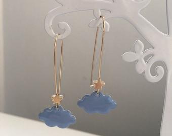 Golden earrings - clouds & stars - light blue