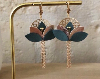 YSEE boho chic earrings, gold and Kaki pink earrings, leather earrings, gift for her, Christmas gift