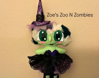 Handmade One of A Kind Large Eyed Witch Cloth Art Doll New School Style Bubble Eye Hallowen