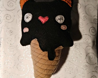 Black Cat Ice Cream Cone Stuffie Handmade Plushie Fantasy