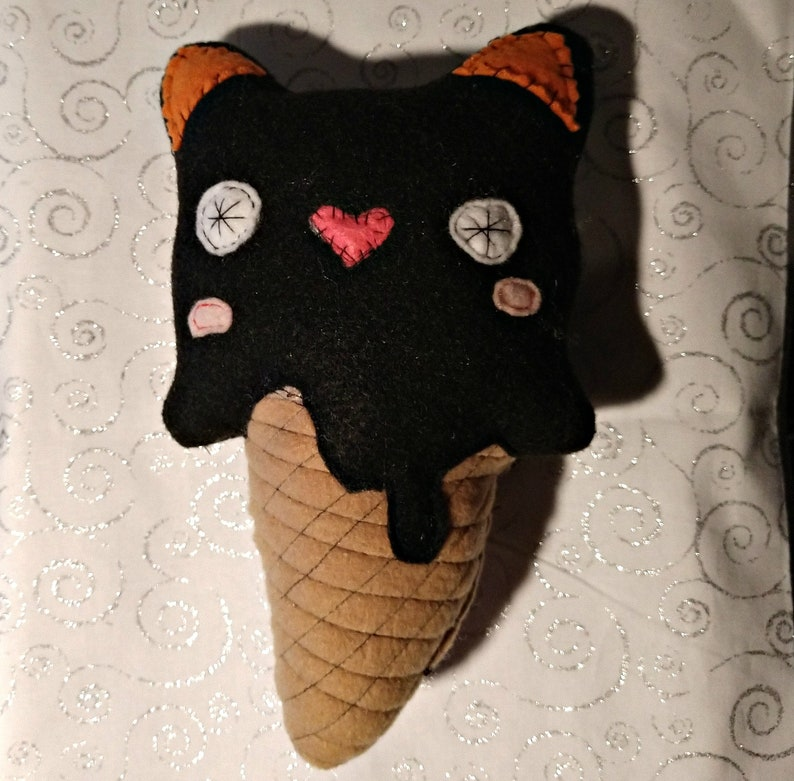 Black Cat Ice Cream Cone Stuffie Handmade Plushie Fantasy image 0