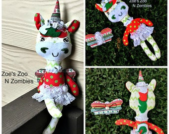 Handmade Unicorn Softie, Ornament, Cloth Doll, Christmas , Art Doll
