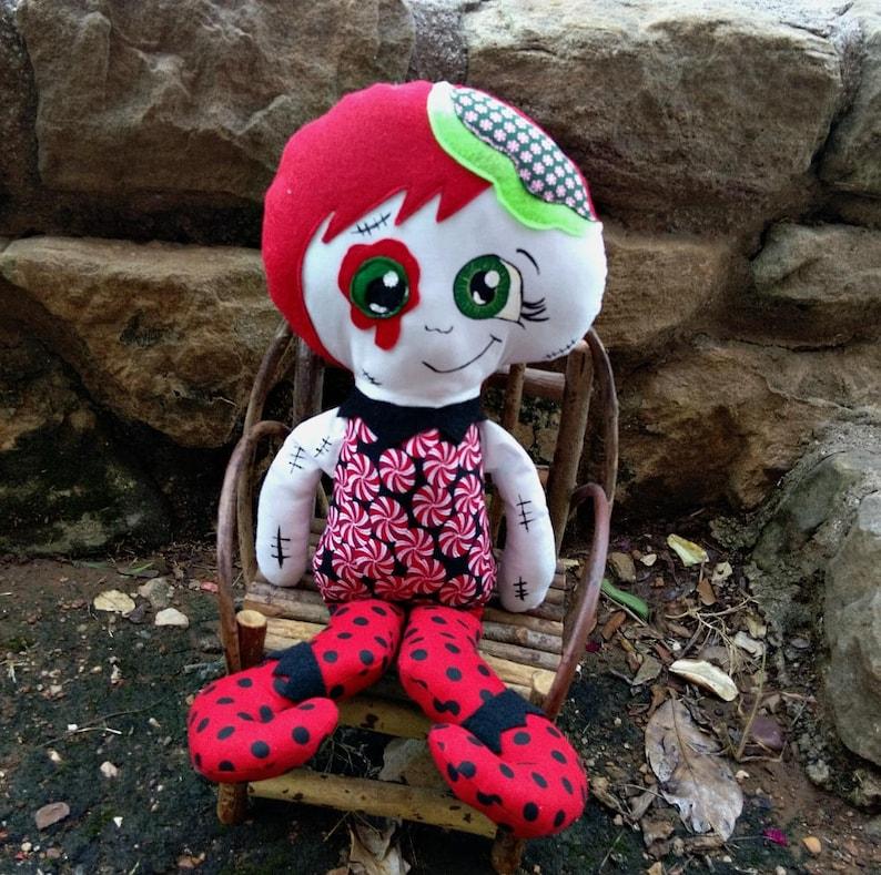Zombie Christmas Elf  Cloth Doll Handmade Large Size image 0
