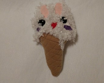 Handmade Fluffy Bunny Ice Cream Cone Plushie Softie  Quirky Fantasy