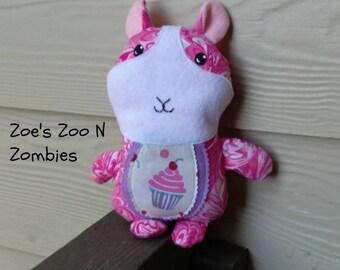 Handmade Guinea Pig Softie, Cupcake Birthday Gift, Cloth Doll Stuffie, Whimsical