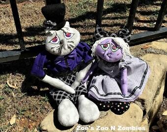 Handmade Raggedy Goblin Set of Two Cloth Dolls Halloween Fall Art Dolls Ghoul