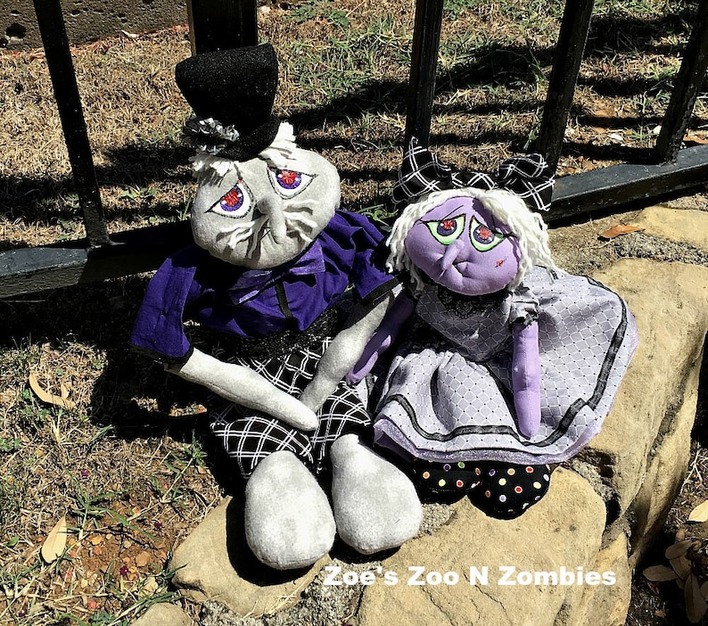 Handmade Raggedy Goblin Set of Two Cloth Dolls Halloween Fall image 0