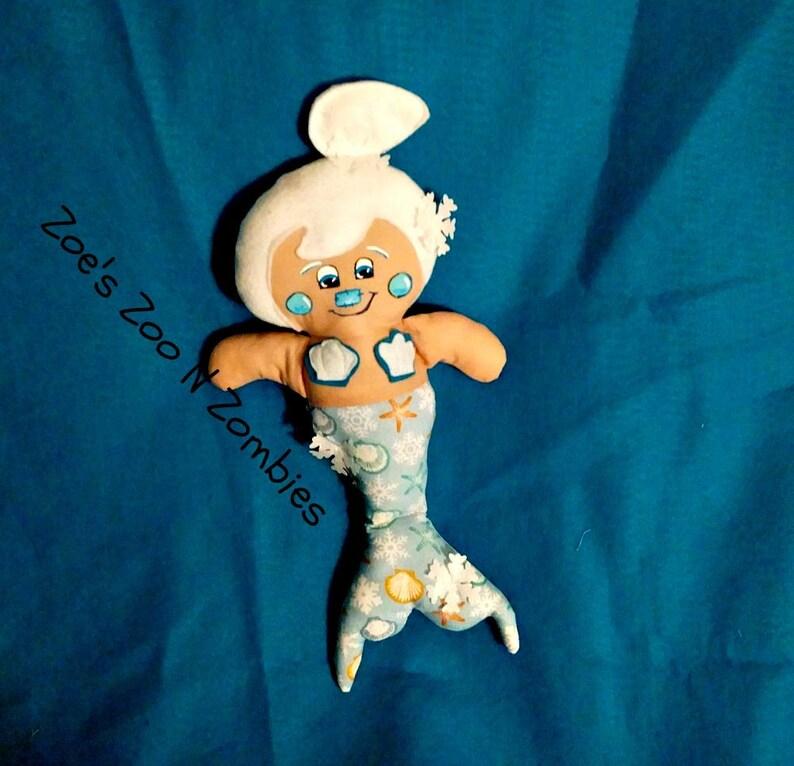 Handmade Mermaid Winter Cloth Doll Whimsical Art Doll image 0