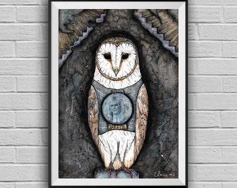 Jareth Labyrinth movie art -Barn Owl-Owl Decor -Mixed Media Collage Art Print -Owl Illustration-Fantasy Art-Bowie Art- Whimsical Wall Art