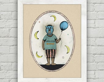 Arrested Development  Print- Tobias Funke , Bear Illustration, Printable Wall Art, Instant Download