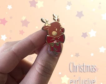 Fun Christmas Jewelry Cute Holiday Rudolph the Red-Nosed Reindeer Hard Enamel Pin Perfect Stocking Stuffer or Dirty Santa Gift