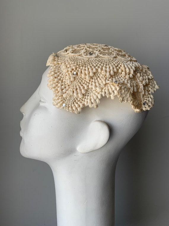 Vintage Cream Crochet Casque Hat | Vintage Womens