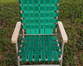Vintage   Retro Sun Terrace Green Webbed Folding Aluminum Lawn Chair. Green  With White Line In The Webbed. Patio Chair.