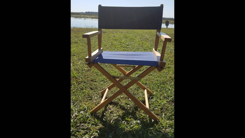 Astonishing Blue Canvas Director Chair Wood Folding Chair With Blue Canvas Seat And Back Evergreenethics Interior Chair Design Evergreenethicsorg