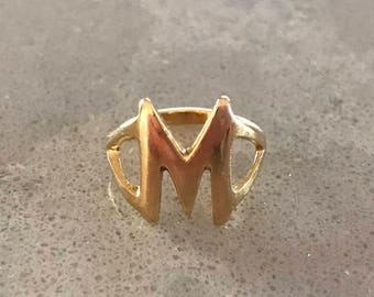 M Initial 14k Gold Pinky Ring Vintage