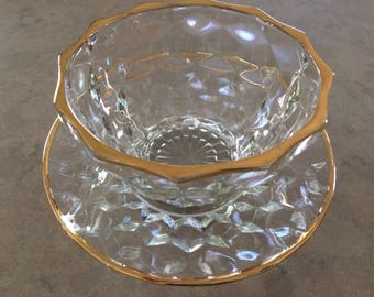 Cubist Berry Bowl and Saucer Crystal Vintage