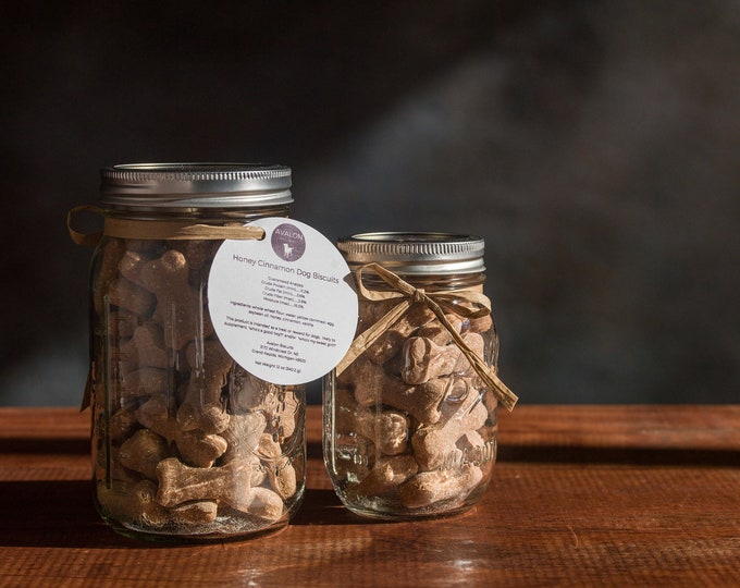 Honey Cinnamon Dog Biscuits 16 oz. and 32 oz. Mason Jar Gift Set