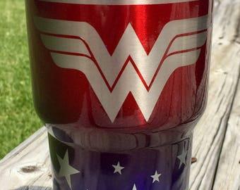 e17df9ae5a3 Wonder Woman Engraved 30oz Metallic Red & Bentley Blue Tumbler | Etsy