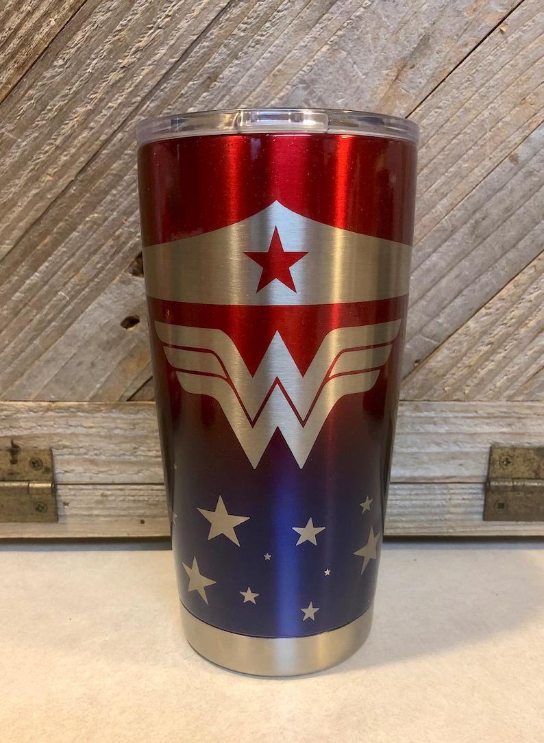 6e553998d85 YETI: Wonder Woman Engraved 20oz YETI Metallic Red & Bentley Blue Tumbler