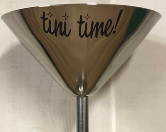 7 ounce laser-engraved stainless steel Martini glass