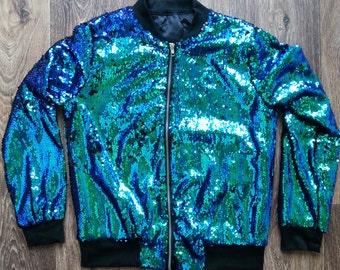 SEQUIN Jacket in MERMAID green/blue