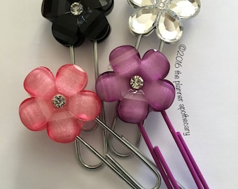 Flower Planner Clips for plum paper filofax ec planners and notebooks