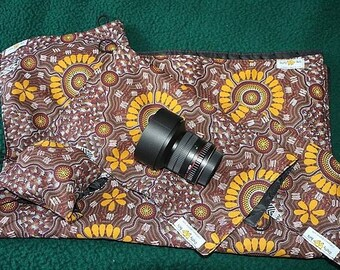 Lens Wraps, Set of Four plus damp proof Ground Cover Sheet, Made to Order,  Colourful Floral, Handmade