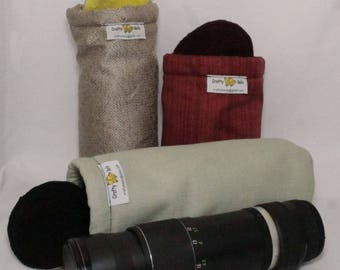 Camera Lens Bags, Large, Photography Accessories, Non-abrasive fabric to protect lens, Top flap with drawstring, Handmade