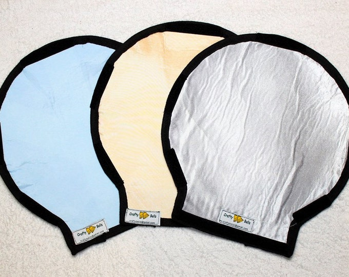 Photography, Flash Light Reflector Set, Double sided,  Photography Lighting, White Shell Reflector inc Free, Handmade