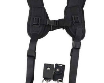 Black Double Sling suitable for DSLR Camera, Neck Support, Photography Accessories by Crafty Bells, Connecting bracket and screws included