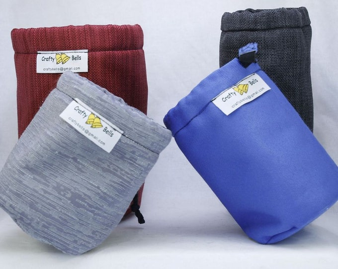 Small sized Camera Lens Bags, DSLR Lens Bags, Top flap with drawstring,  Non-abrasive protects lens, Handmade